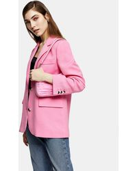 TOPSHOP Single Breasted Suit Blazer - Pink