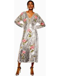 TOPSHOP Sequin Floral Beaded Wrap Dress