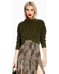 TOPSHOP - Petite Cropped Cable Knitted Jumper - Lyst