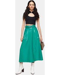 TOPSHOP Green Full Circle Vinyl Skirt