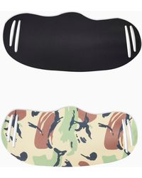 TOPSHOP 2 Pack Camouflage Print And Black Fashion Face Mask