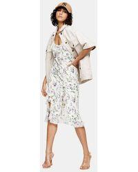 TOPSHOP - Idol Ivory Floral Slip Dress - Lyst