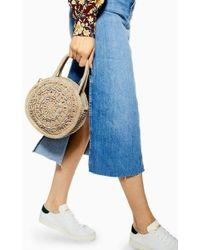 TOPSHOP Shell Straw Round Grab Bag - Natural
