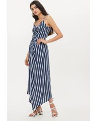 ddea9de8ebf TOPSHOP - Striped Ruched Slip Dress - Lyst