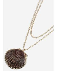 TOPSHOP - real Shell Multirow Necklace - Lyst