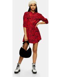 TOPSHOP Animal Mini Shirt Dress - Red