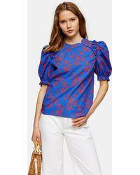 TOPSHOP Cobalt Blue Floral Print Blouse