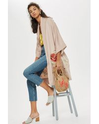 TOPSHOP - Petite Bloom Embroidered Kimono - Lyst