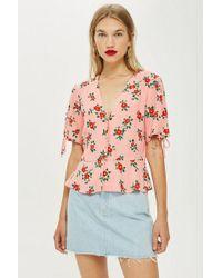 TOPSHOP - Button Down Floral Print Blouse - Lyst