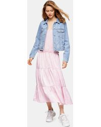 TOPSHOP Floral Tiered Satin Slip Dress - Pink