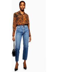 TOPSHOP Button Fly Straight Jeans - Blue