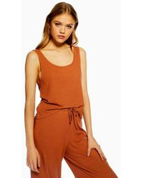 TOPSHOP - Rust Brushed Ribbed Pyjama Camisole Top - Lyst