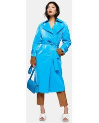 TOPSHOP - Petite Bright Blue Pu Trench - Lyst