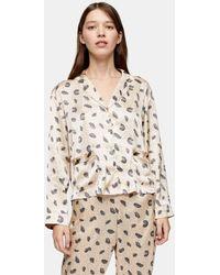 TOPSHOP Feather Print Satin Pajama Top - Natural
