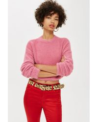 TOPSHOP - Fluffy Super Cropped Jumper - Lyst