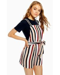 TOPSHOP - Striped Pinafore Playsuit - Lyst