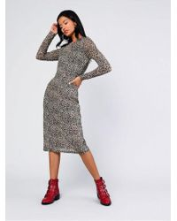 TOPSHOP - animal Printed Midi Dress By Glamorous - Lyst
