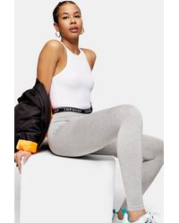 TOPSHOP Gray Elastic Leggings