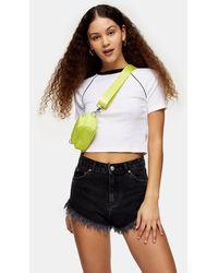 TOPSHOP Kiri Frayed Denim Shorts - Black