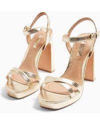 TOPSHOP wide Fit Sienna Gold Platform Heels - Metallic