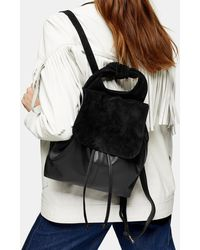 TOPSHOP Leon Black Leather Bow Backpack