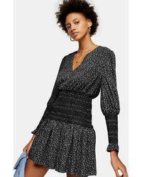 TOPSHOP Petite Black And White Shirred Waist Mini Dress