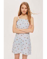 TOPSHOP - Striped Floral Mini Pinafore Dress - Lyst