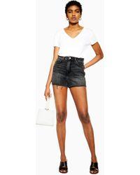 TOPSHOP Denim Mom Shorts - Black