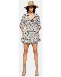 TOPSHOP - Idol Floral Pajama Collar Romper - Lyst