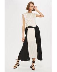 TOPSHOP - Colour Block Pleat Midi Skirt - Lyst