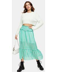 TOPSHOP Green Gingham Spot Tiered Skirt