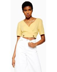 f0040c55581 TOPSHOP Crochet High Neck Top By Glamorous Petites in White - Lyst