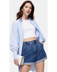 TOPSHOP Rich Blue Pleated Roll Hem Mom Denim Shorts