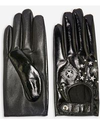 TOPSHOP - Embroidered Vinyl Touchscreen Gloves - Lyst