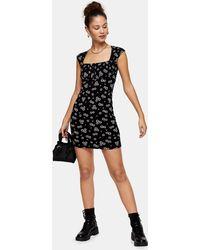 TOPSHOP Black And White Neck Bodycon Dress