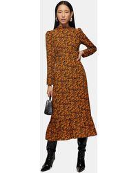 TOPSHOP Floral Print Midi Dress - Brown