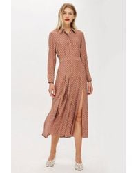 TOPSHOP - Petite Rust Spot Shirtdress - Lyst
