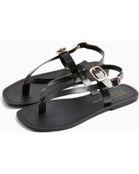 TOPSHOP Piperleather Buckle Sandals - Black