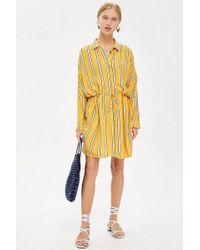 TOPSHOP - Petite Stripe Drawstring Shirt Dress - Lyst