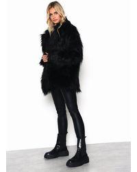 Glamorous black Long Hair Faux Fur Coat By
