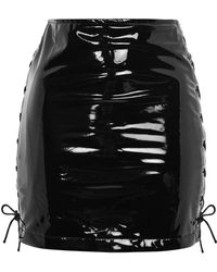 Wyldr - Paris - Black High Shine Lace Up Mini Skirt By - Lyst