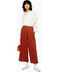 TOPSHOP Stripe Linen Crop Wide Pants - Red