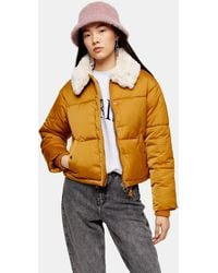 TOPSHOP Ustard Padded Puffer Jacket With Faux Fur Collar - Orange