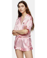 TOPSHOP Tie Satin Shirt And Shorts Pajama Set - Pink