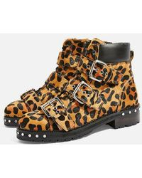 TOPSHOP - Animal Leopard Print Hiker Boots - Lyst