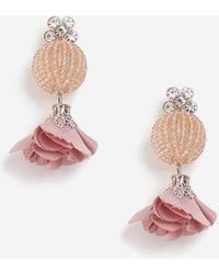 TOPSHOP - Beaded Ball And Flower Drop Earrings - Lyst