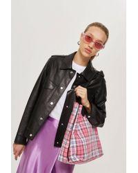 TOPSHOP - Callie Checked Shopper Bag - Lyst