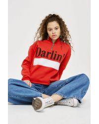 TOPSHOP - 'darlin' Slogan Zip Sweatshirt - Lyst