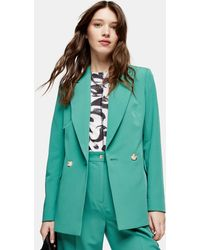 TOPSHOP Mint Double Breasted Blazer - Green