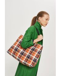 TOPSHOP - Callie Checked Shopper Bag - Lyst